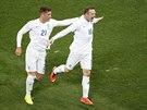 VYROVNÁNO. Angličan Wayne Rooney (vpravo) se raduje z gólu na 1:1.