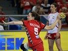 Kateřina Keclíková na sedmičce v utkání proti Polsku.