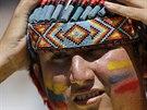 Do hlediště stadionu ve městě Brasília dorazil i ekvádorský indián.