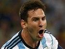 Argentinec Lionel Messi slaví svůj gól v utkání proti Bosně, jímž zvýšil skóre...