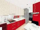 Vizualizace: kuchyňská linka začíná v dolní části u okna kvůli radiátoru dozadu