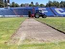 Na Bazalech panuje v těchto dnech čilý ruch. Rekonstrukce trávníku i další...