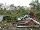 Deset let starý pohled na jižní část města Litovel poté, co se tudy prohnalo...