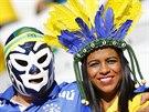 Brazilští fanoušci v očekávání úvodního utkání mistrovství světa.