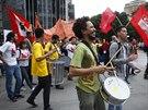 Protesty proti mistrovstv� sv�ta ve fotbale v brazilsk�m Belo Horizonte.
