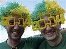 Brazilští fanoušci před zahájením mistrovství světa ve fotbale.