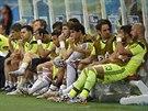Španělská lavička během duelu proti Nizozemsku