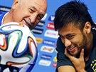 MODELKY. Brazilský trenér Luiz Felipe Scolari s hlavní hvězdou týmu Neymarem...