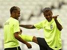 PODÍVEJ NA FELIPEHO. Brazilci se dobře baví na pondělním tréninku. Alves se...