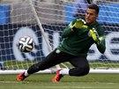 MÁM HO. Brankář Julio Cesar chytá míč na brazilském tréninku před zápasem proti...