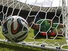 GÓL V 5. MINUTĚ. Řecký gólman Karnezis se jen ohlíží za míčem, který přistál v