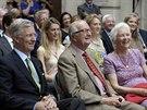 Belgický král Philippe a bývalý panovník Albert II. s manželkou Paolou (Brusel,...