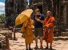 Luboš Fellner u chrámu Ankgor Wat, Kambodža.
