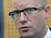 P�edseda vl�dy Bohuslav Sobotka na tiskov� konferenci po jedn�n� vl�dy a...