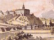 Mědirytina Náchoda z roku 1810 od Marca Berry ukazuje schodiště k zámku...