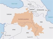 Mapka - kurdská populace