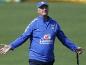 Trenér brazilského národního mužstva Luiz Felipe Scolari během tréninku v...