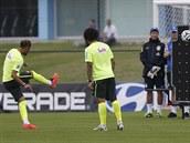 Brazilská hvězda Neymar během tréninku v Teresopolisu nacvičuje střelbu přímých...