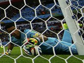 Honduraský brankář Noel Valladares vytahuje míč z brány po střele francouzského...