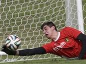 Belgický brankář Thibault Courtois na tréninku v Mogi das Cruzes během...