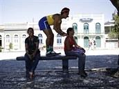 V Manausu se můžete nechat namasírovat od maséra oblečeného v barvách brazilské...