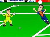 Robin van Persie jako SuperVan dává gól Ikeru Casillasovi.