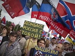 Demonstrace na podporu don�ck�ch separatist� v Moskv� (10. �ervna 2014)