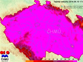 Mapa teploty vzduchu k 17:00 10. června 2014.