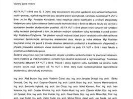Petice proti kandidátovi na děkana Rostislavu Koryčánkovi.