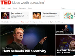 TED.com - myšlenky, které stojí za to šířit. Krátká videa kolem 15 minut jsou na studium výborná.