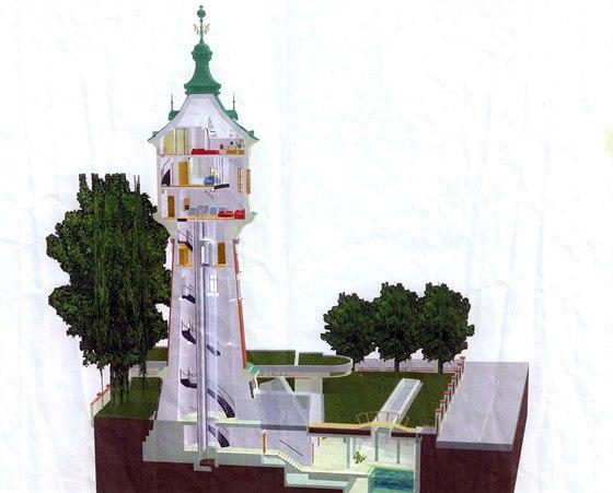 Průřez vodárenskou věži v Libni s mezonetem a sportovně relaxačním centrem v...