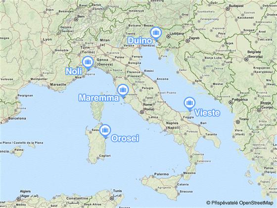 MAPKA: p�t m�st, kde naj�t nejlep�� koup�n� v It�lii