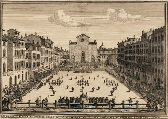 Iustrace z italského díla ze 17. století zobrazující hřiště a rozestavení hráčů...