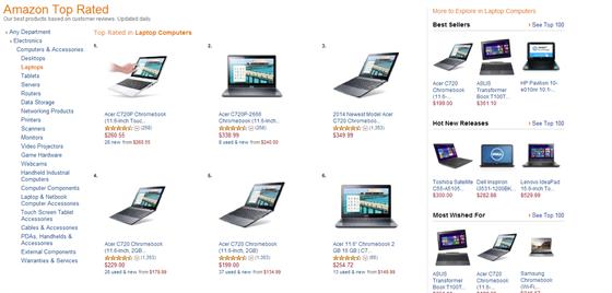 TOP 10 nejlépe hodnocených počítačů na Amazon.com jsou skutečně Chromebooky.