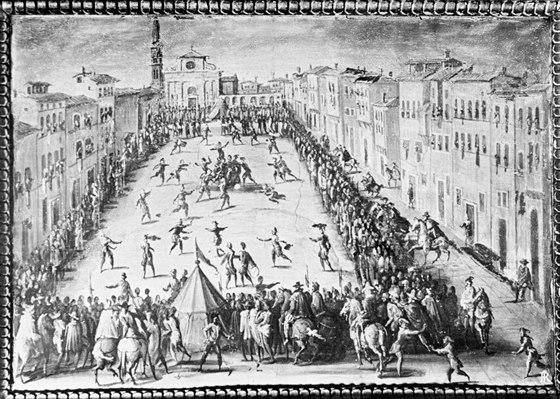 Fotbalový zápas ve středověku (Florencie)