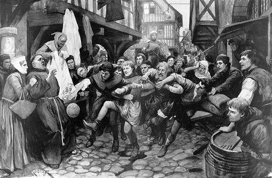 Fotbal v ulicích Londýna, příbližně v roce 1314. Obchodníci tehdy požádali...