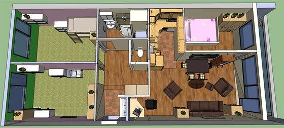 Současný plánek bytu 4+kk