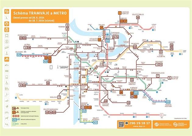 Sch�ma v�luky tramvajov�ch trat� v Praze v prvn� polovin� pr�zdnin