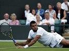 VELK� BOJOVN�K. Jo-Wilfried Tsonga z Francie le�� na wimbledonsk� tr�v� v duelu...