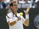 Andy Murray a jeho nespokojený výraz v utkání druhého kola Wimbledonu.