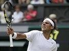 VÍTĚZNÝ POKŘIK. Rafael Nadal po zápase s Lukášem Rosolem neskrýval spokojenost.