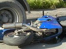 Nabouraná motorka Kawasaki. (27.6.2014)