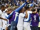 Hondurasané se radují z vedoucího gólu, který vsttřelil útočník Costly