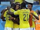 Kolumbijci se radují z prvního gólu v zápase s Japonskem