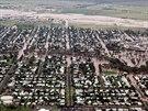 Zaplavené město Dalby v australském státě Queensland na leteckém snímku (29....