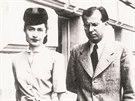 Magda Husáková - Lokvencová s Gustávem Husákem v Bratislavě, začátek 40. let