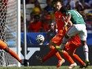 Mexický útočník Giovani Dos Santos střílí gól mezi Nizozemci Blindem a...