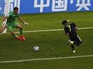 PATIČKA. David Villa otevírá skóre proti Austrálii.