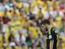 LOU�EN�. David Villa st��d� v utk�n� proti Austr�lii. Byl to z�ejm� jeho...