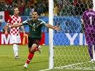 GÓLOVÁ OSLAVA. Javier Hernández se raduje z gólu na 2:0 proti Chorvatsku.